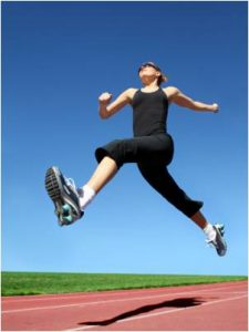 Woman performing a bounding exercise