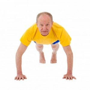 Older man doing a press-up