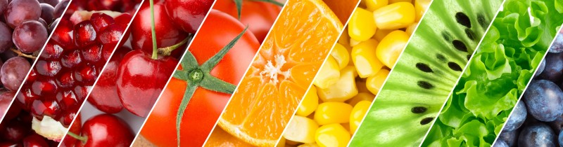 A colour range of fruit and vegetables