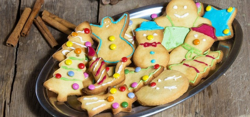 A plate of Christmas-themed cookies