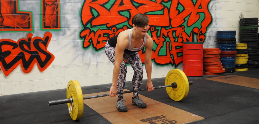 Georgina demonstrates a Romanian deadlift