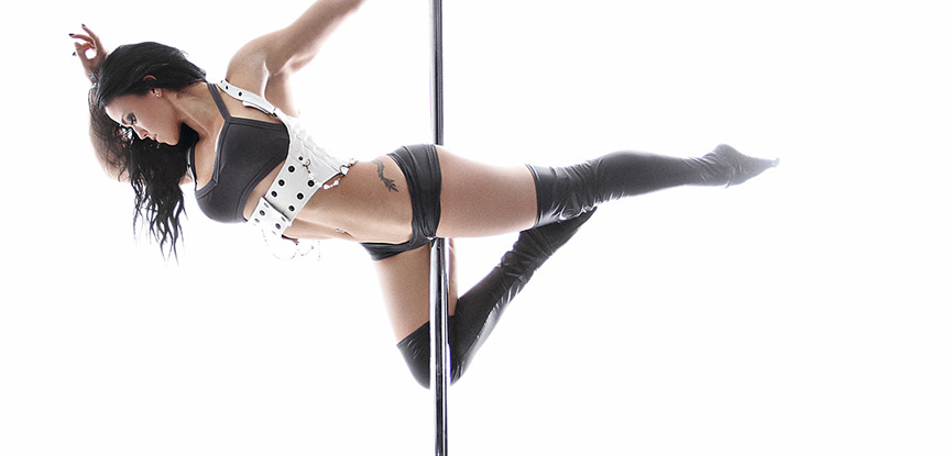 International pole fitness instructor pole dancer performer Sarah Scott