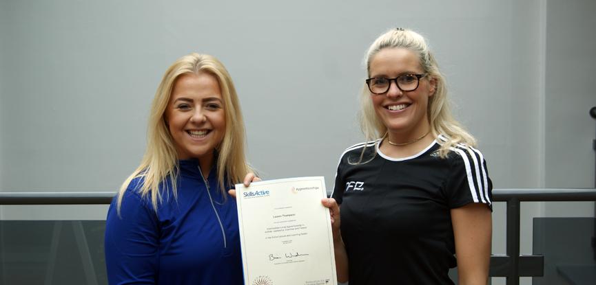 apprentice lauren thompson with her HFE support tutor Danielle Sharrock