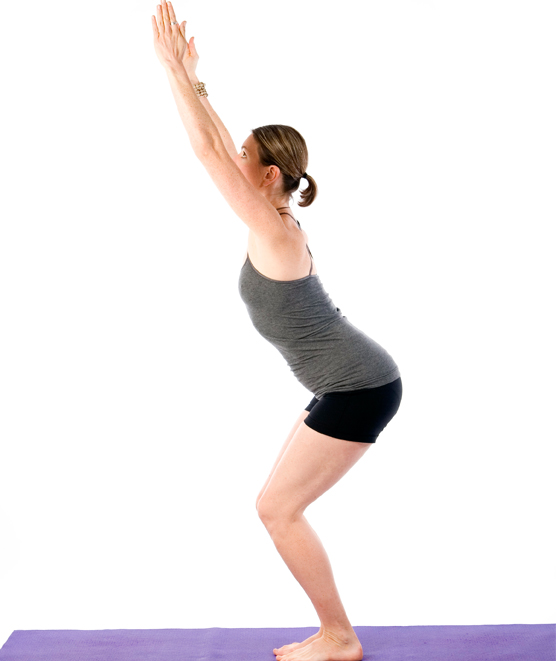 Sally Parkes performs the chair pose yoga posture
