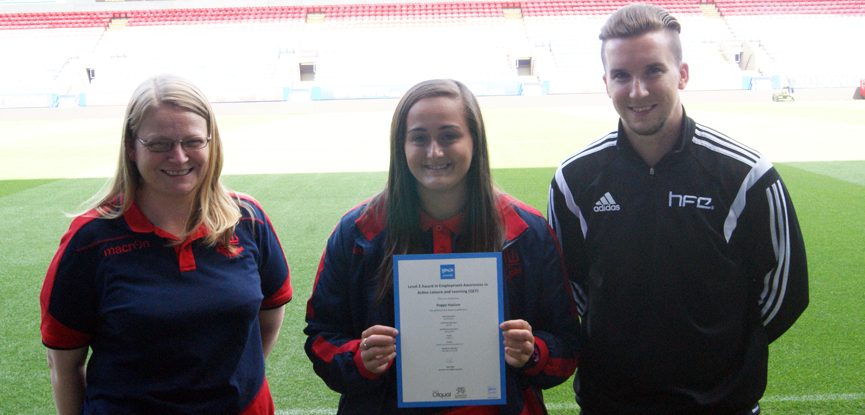 Poppy Haslam and Kate Bent of the Bolton Wanderers Community Trust