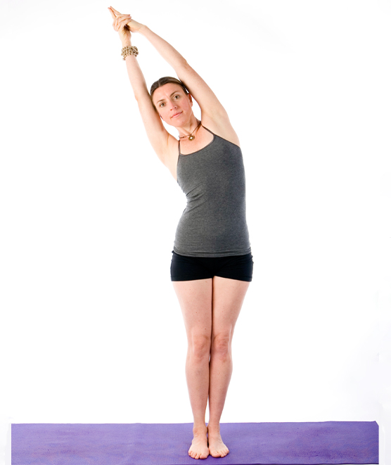 Expert teacher Sally Parkes demonstrates how to perform the crescent moon yoga pose