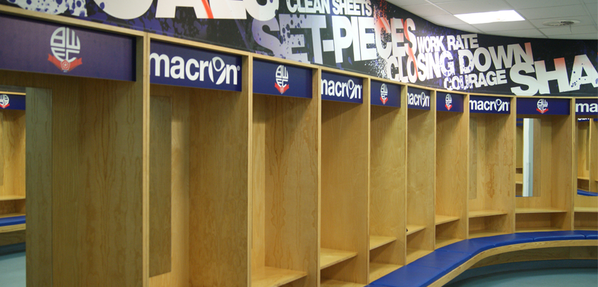 Changing rooms at Bolton Wanderers football club