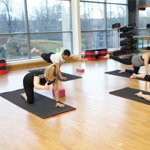 Participants performing Pilates exercises for low back pain