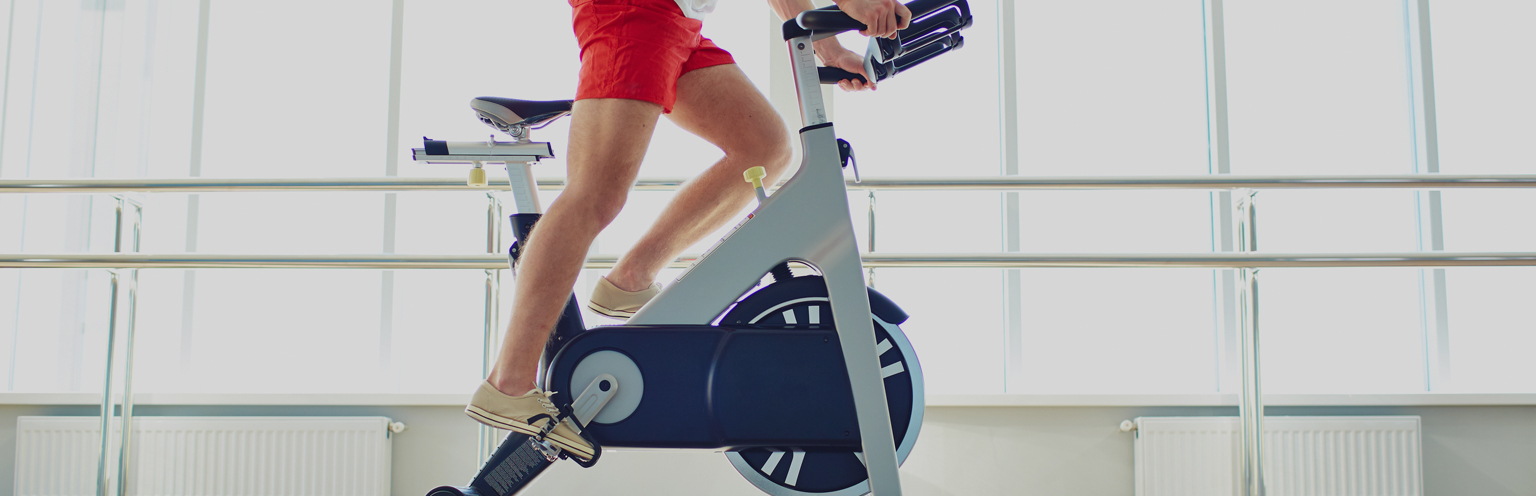 Participant in an indoor cycling class