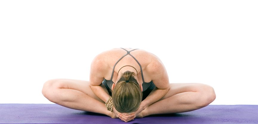 Sally Parkes performing the bound angle yoga pose