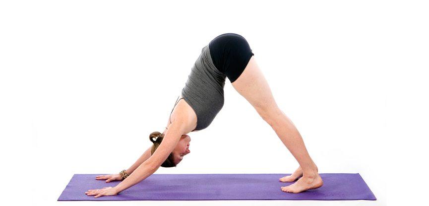 Sally Parkes performing the downward facing dog yoga pose