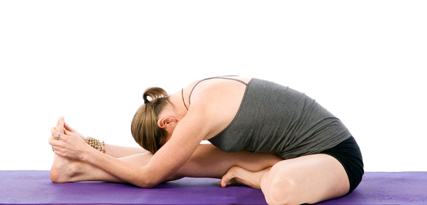 Sally Parkes performing the head to toe yoga pose