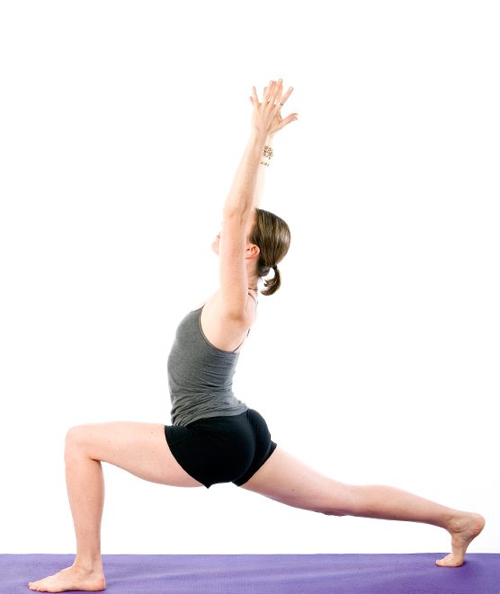 Sally Parkes performing a variation of the lunge yoga pose