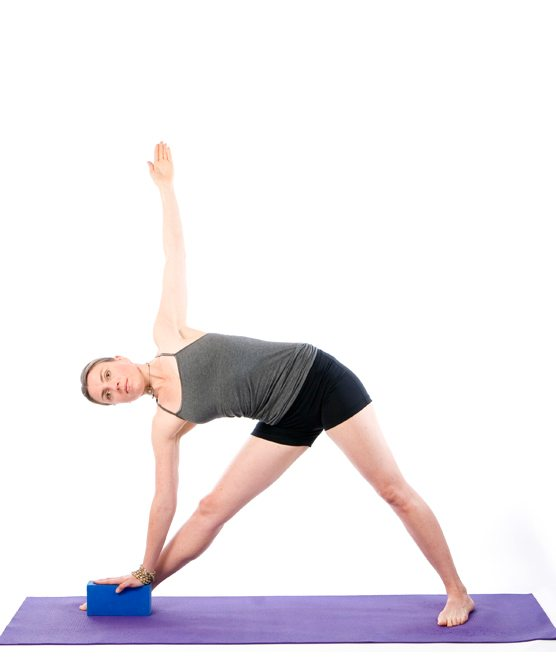 Sally Parkes performing the triangle yoga pose