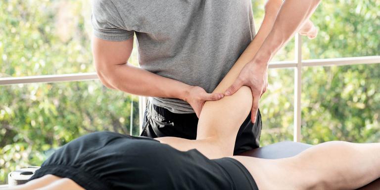 Sports massage on calf