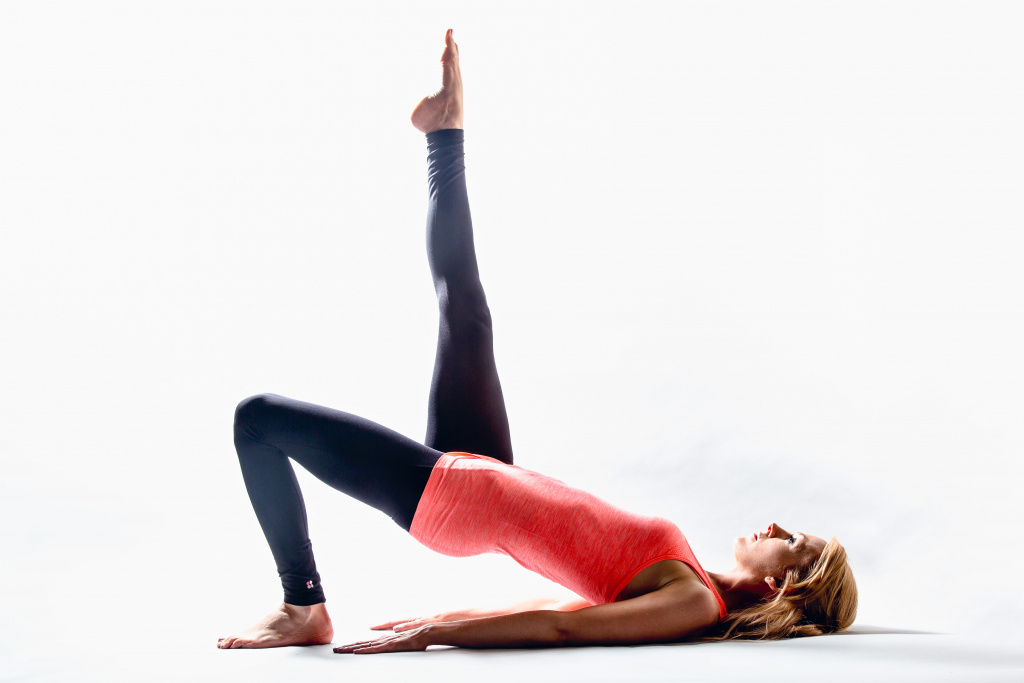 Lyndsay Hirst performing a Pilates exercise