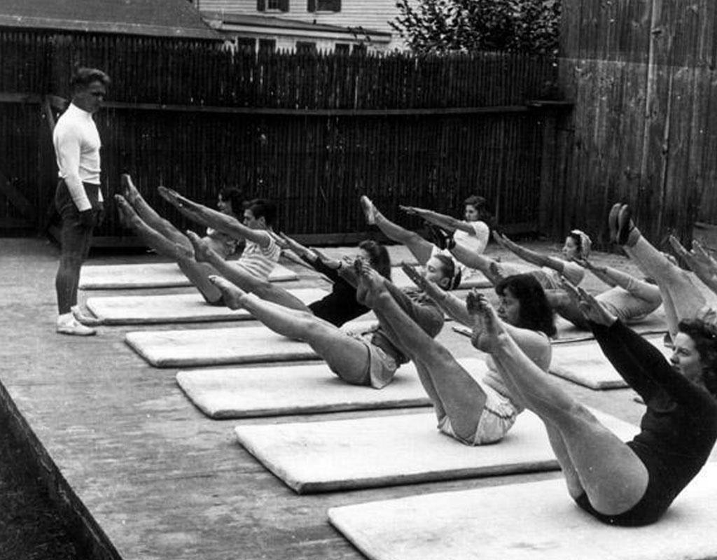 Joseph Pilates teaching a class his original exercises
