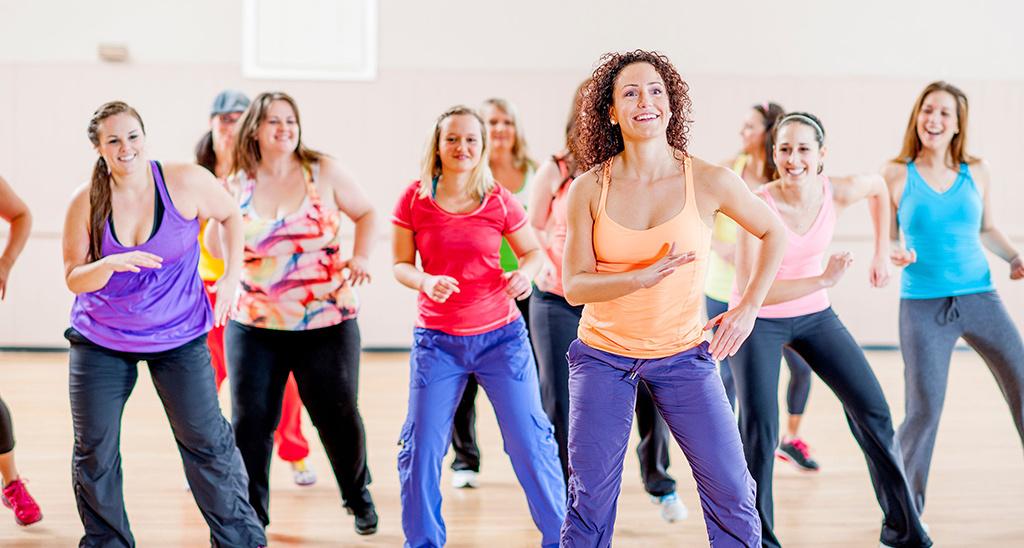 Women taking part in a Zumba class