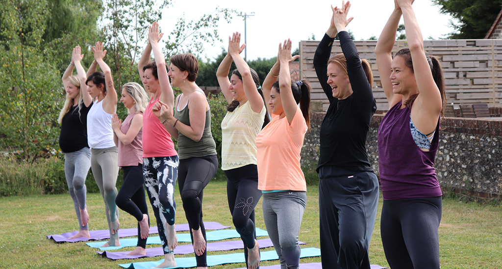 Yoga teacher Sally Parkes teaching at a yoga retreat