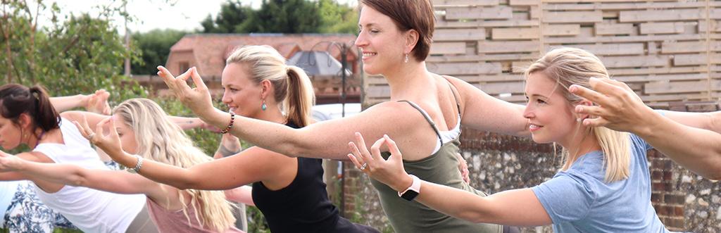 Yoga teacher Sally Parkes teaching at a yoga retreat