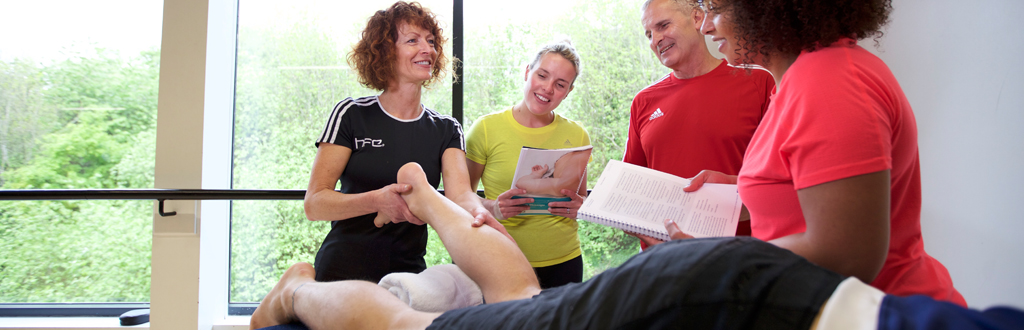 Students completing their sports massage course
