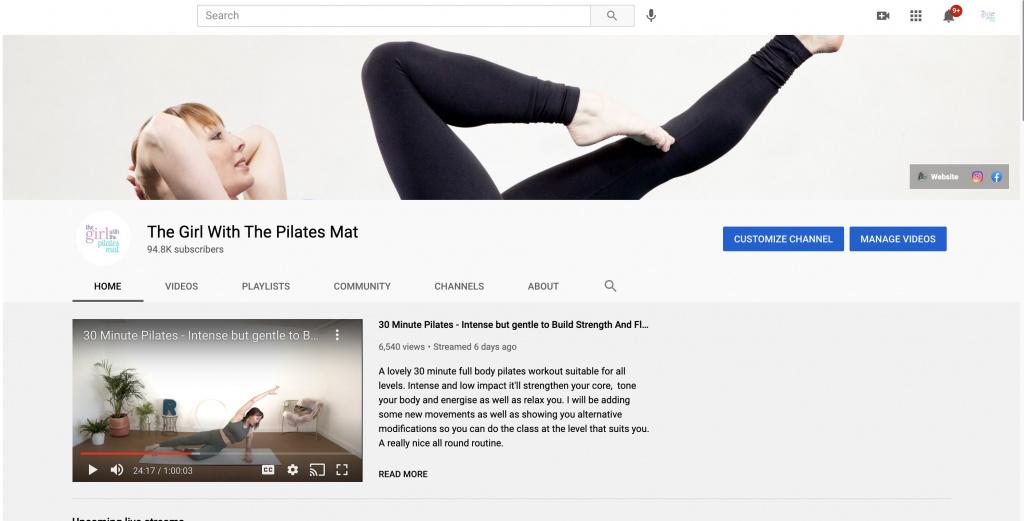 A screenshot of Rachel Lawrence's YouTube channel