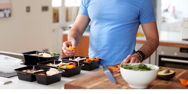 Nutrition advisor prepping meal