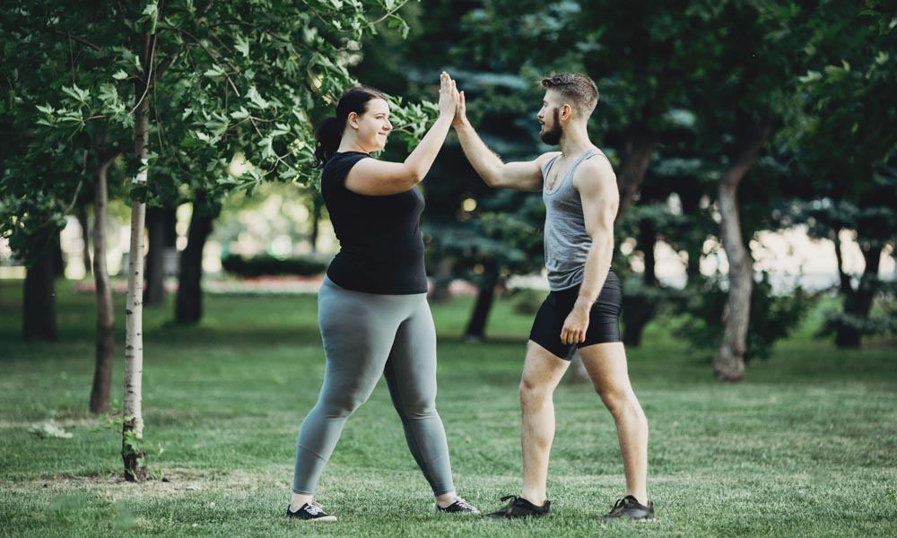 outdoor training with overweight woman
